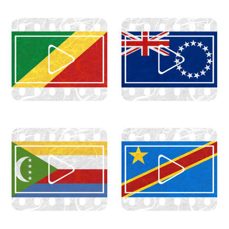 republic of the congo: Nation Flag. Film recycled paper on white background. ( Comoros , Congo Democratic Republic , Congo Republic , Cook Islands) Stock Photo