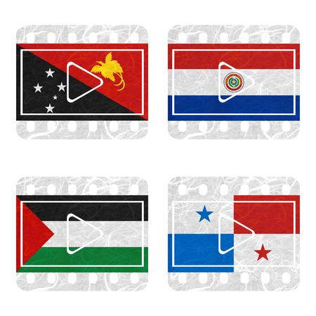 bandera panama: Bandera de la naci�n. Cine de papel reciclado en el fondo blanco. (Palestina, Panam�, Papua Nueva Guinea, Paraguay) Foto de archivo