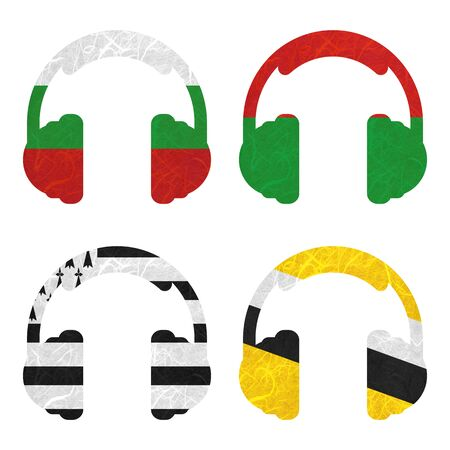 brunei darussalam: Nation Flag. Headphone recycled paper on white background. ( Brittany , Brunei Darussalam , Bulgaria , Burkina Faso )