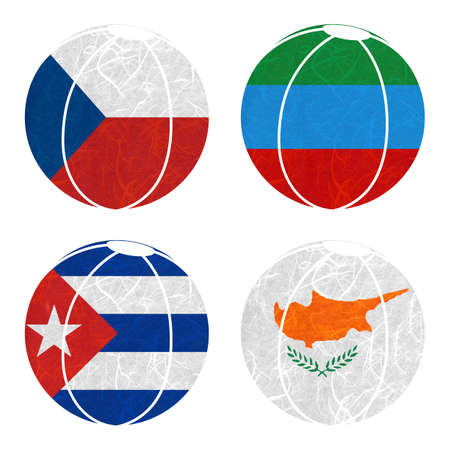 dagestan: Nation Flag. Ball recycled paper on white background. ( Cuba , Cyprus , Czech Republic , Dagestan ) Stock Photo