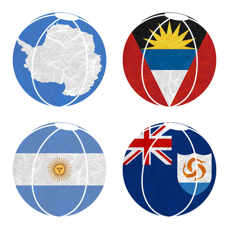 background antarctica: Nation Flag. Ball recycled paper on white background. ( Anguilla , Antarctica , Antigua and Barbuda , Argentina )