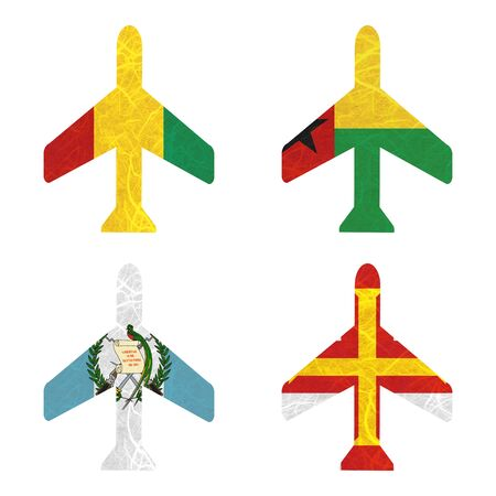 guernsey: Nation Flag. Airplane recycled paper on white background. ( Guatemala , Guernsey , Guinea , Guinea-Bissau ) Stock Photo