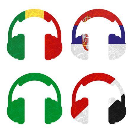sealand: Nation Flag. Headphone recycled paper on white background. ( Saudi Arabia , Sealand Principality , Senegal , Serbia )