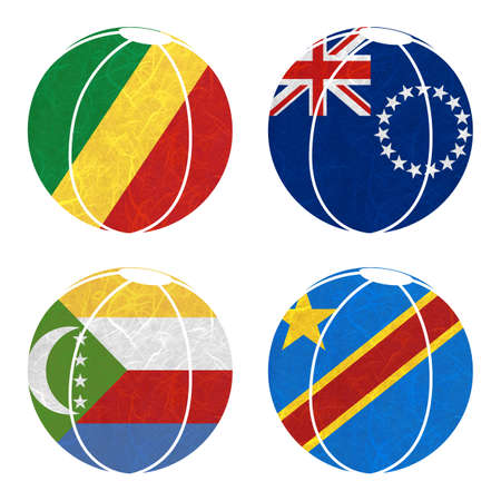 democratic republic of the congo: Nation Flag. Ball recycled paper on white background. ( Comoros , Congo Democratic Republic , Congo Republic , Cook Islands)