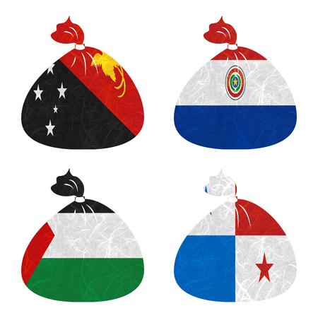 bandera panama: Bandera de la naci�n. La bolsa de papel reciclado en el fondo blanco. (Palestina, Panam�, Papua Nueva Guinea, Paraguay)