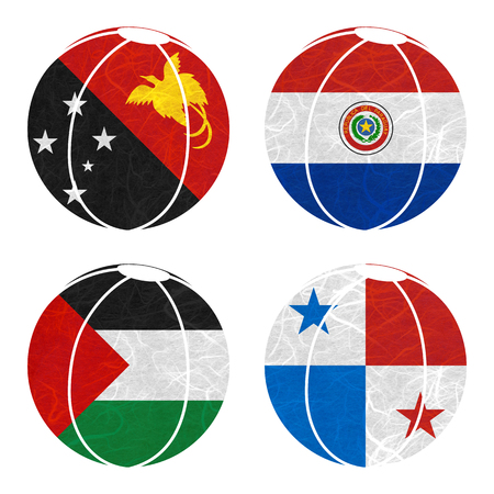 bandera de panama: Nation Flag. Ball recycled paper on white background. ( Palestine , Panama , Papua New Guinea , Paraguay )