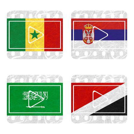 sealand: Nation Flag. Film recycled paper on white background. ( Saudi Arabia , Sealand Principality , Senegal , Serbia )