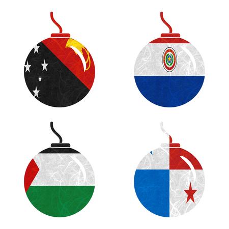 bandera de panama: Bandera de la naci�n. Bomba de papel reciclado en el fondo blanco. (Palestina, Panam�, Papua Nueva Guinea, Paraguay) Foto de archivo