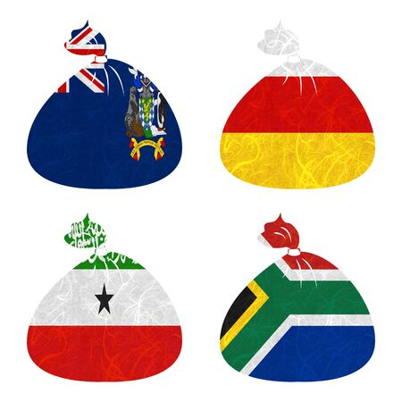 somaliland: Nation Flag. Bag recycled paper on white background. ( Somaliland , South Africa , South Georgia and the South Sandwich Islands , South Ossetia )