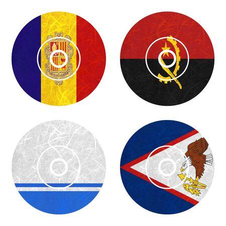 samoa: Nation Flag. DVD recycled paper on white background. ( Altai Republic , American Samoa , Andorra , Angola )
