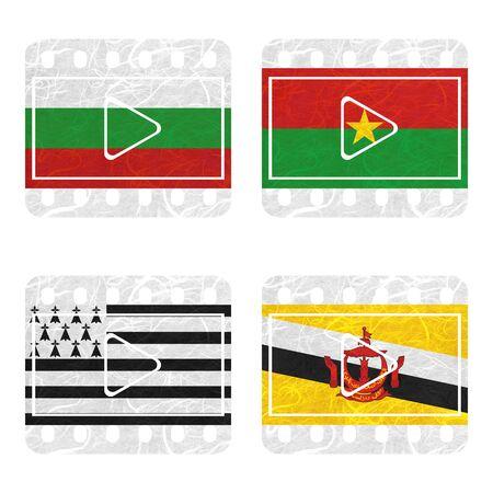 brunei darussalam: Nation Flag. Film recycled paper on white background. ( Brittany , Brunei Darussalam , Bulgaria , Burkina Faso )