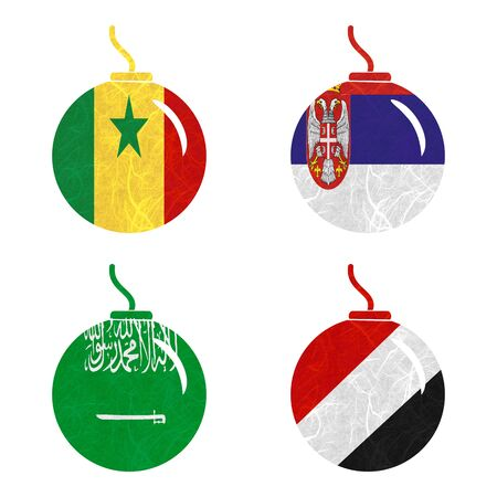 sealand: Nation Flag. Bomb recycled paper on white background. ( Saudi Arabia , Sealand Principality , Senegal , Serbia )