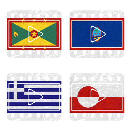 nation: Nation Flag. Film recycled paper on white background. ( Greece , Greenland , Grenada , Guam )