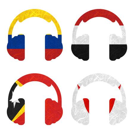 easter island: Nation Flag. Headphone recycled paper on white background. ( East Timor , Easter Island Rapa nui , Ecuador , Egypt )
