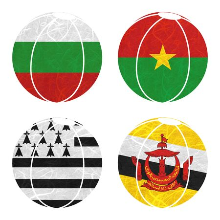 nation: Nation Flag. Ball recycled paper on white background. ( Brittany , Brunei Darussalam , Bulgaria , Burkina Faso )