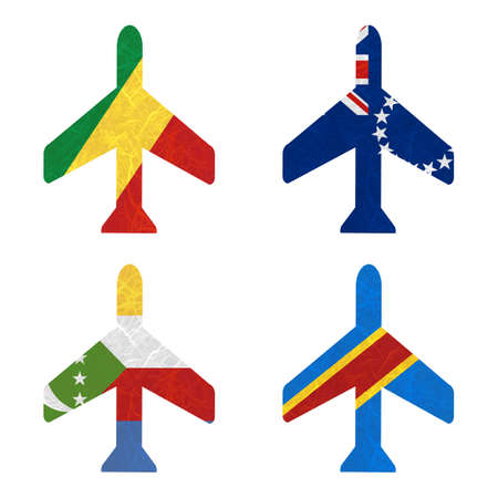 democratic republic of the congo: Nation Flag. Airplane recycled paper on white background. ( Comoros , Congo Democratic Republic , Congo Republic , Cook Islands)