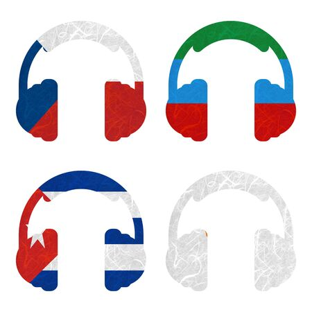 dagestan: Nation Flag. Headphone recycled paper on white background. ( Cuba , Cyprus , Czech Republic , Dagestan )