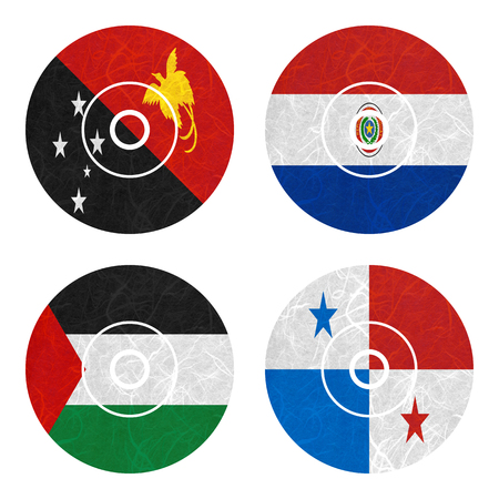 bandera panama: Nation Flag. DVD recycled paper on white background. ( Palestine , Panama , Papua New Guinea , Paraguay )