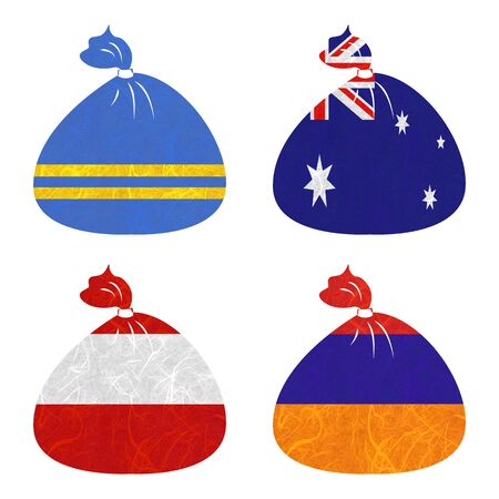armenia: Nation Flag. Bag recycled paper on white background. ( Armenia , Aruba , Australia , Austria )