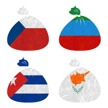 dagestan: Nation Flag. Bag recycled paper on white background. ( Cuba , Cyprus , Czech Republic , Dagestan ) Stock Photo