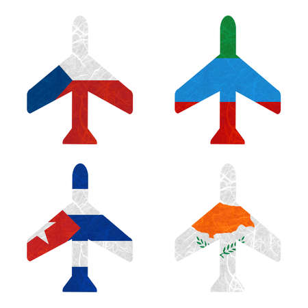 dagestan: Nation Flag. Airplane recycled paper on white background. ( Cuba , Cyprus , Czech Republic , Dagestan )