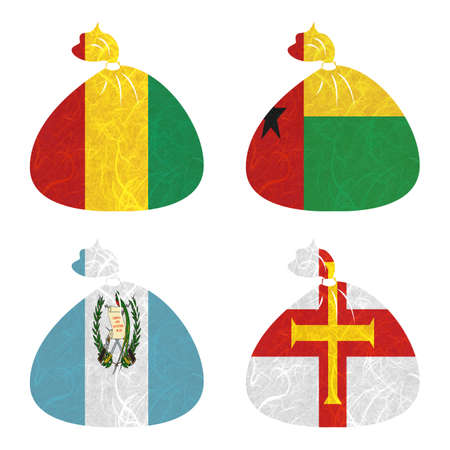guernsey: Nation Flag. Bag recycled paper on white background. ( Guatemala , Guernsey , Guinea , Guinea-Bissau )
