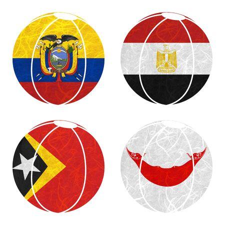 rapa nui: Bandera de la nación. Bola de papel reciclado en el fondo blanco. (Timor Oriental, la isla de Pascua Rapa Nui, Ecuador, Egipto)
