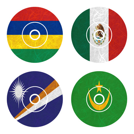mauritania: Nation Flag. DVD recycled paper on white background. ( Marshall Islands , Mauritania , Mauritius , Mexico )