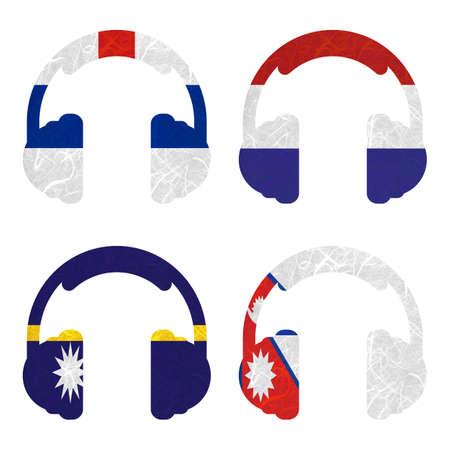 antilles: Nation Flag. Headphone recycled paper on white background. ( Nauru , Nepal , Netherlands Antilles , Netherlands )