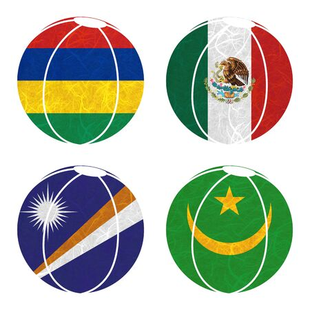 mauritania: Nation Flag. Ball recycled paper on white background. ( Marshall Islands , Mauritania , Mauritius , Mexico )