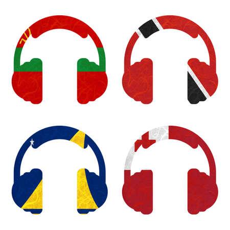 tokelau: Nation Flag. Headphone recycled paper on white background. ( Tokelau , Tonga , Transnistria , Trinidad and Tobago ) Stock Photo