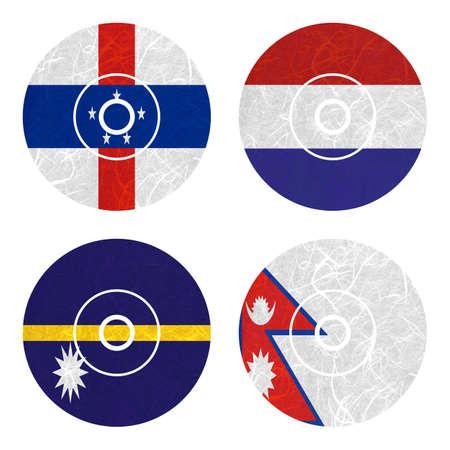 antilles: Nation Flag. DVD recycled paper on white background. ( Nauru , Nepal , Netherlands Antilles , Netherlands ) Stock Photo