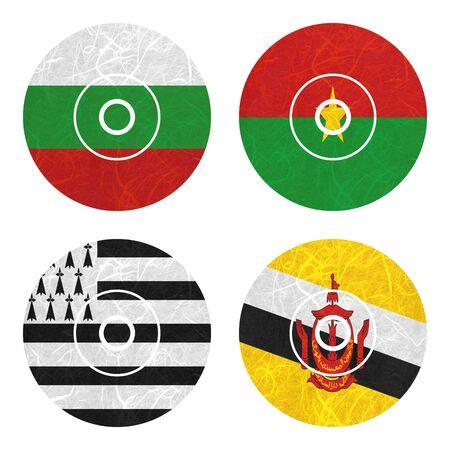 brunei darussalam: Nation Flag. DVD recycled paper on white background. ( Brittany , Brunei Darussalam , Bulgaria , Burkina Faso ) Stock Photo