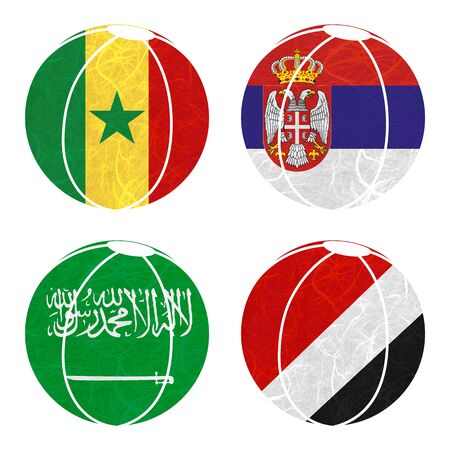 sealand: Nation Flag. Ball recycled paper on white background. ( Saudi Arabia , Sealand Principality , Senegal , Serbia ) Stock Photo