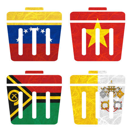nation: Nation Flag. Film strip recycled paper on white background. ( Vanuatu , Vatican City State , Venezuela , Vietnam )