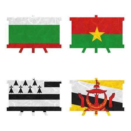brunei darussalam: Nation Flag. Film strip recycled paper on white background. ( Brittany , Brunei Darussalam , Bulgaria , Burkina Faso )