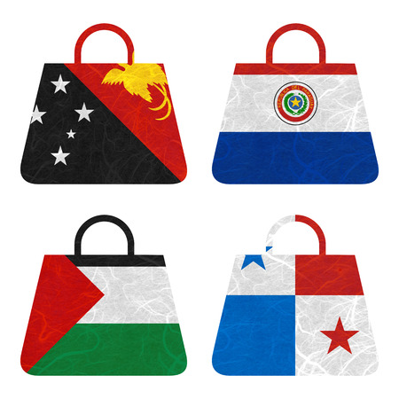 bandera de panama: Bandera de la nación. Tira de la película de papel reciclado en el fondo blanco. (Palestina, Panamá, Papua Nueva Guinea, Paraguay)