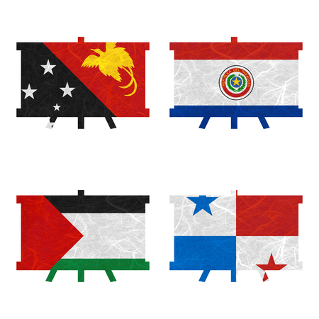 bandera panama: Nation Flag. Film strip recycled paper on white background. ( Palestine , Panama , Papua New Guinea , Paraguay )