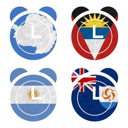 background antarctica: Nation Flag. Clock recycled paper on white background. ( Anguilla , Antarctica , Antigua and Barbuda , Argentina ) Stock Photo