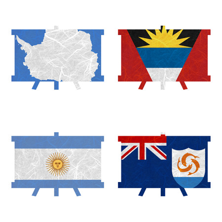 nation: Nation Flag. Film strip recycled paper on white background. ( Anguilla , Antarctica , Antigua and Barbuda , Argentina )