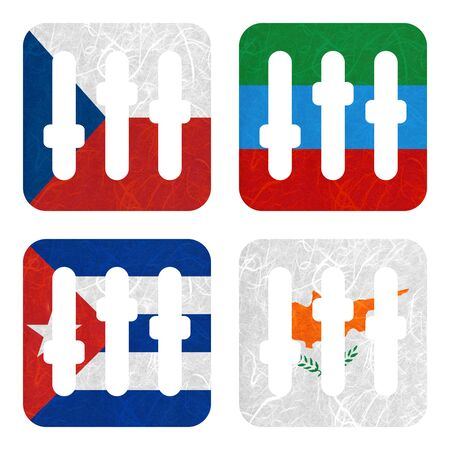 dagestan: Nation Flag. Film strip recycled paper on white background. ( Cuba , Cyprus , Czech Republic , Dagestan ) Stock Photo