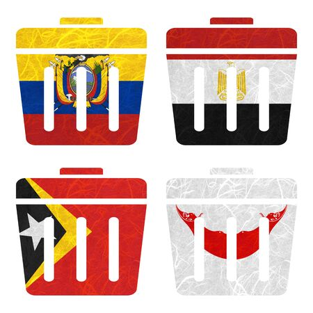 rapa nui: Bandera de la naci�n. Tira de la pel�cula de papel reciclado en el fondo blanco. (Timor Oriental, Isla de Pascua Rapa nui, Ecuador, Egipto) Foto de archivo
