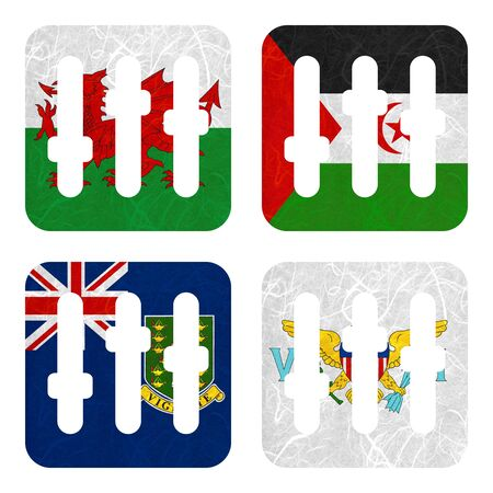virgin islands: Nation Flag. Film strip recycled paper on white background. ( Virgin Islands - UK , Virgin Islands - US , Wales , Western Sahara )