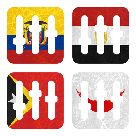 rapa nui: Bandera de la nación. Tira de la película de papel reciclado en el fondo blanco. (Timor Oriental, Isla de Pascua Rapa nui, Ecuador, Egipto) Foto de archivo