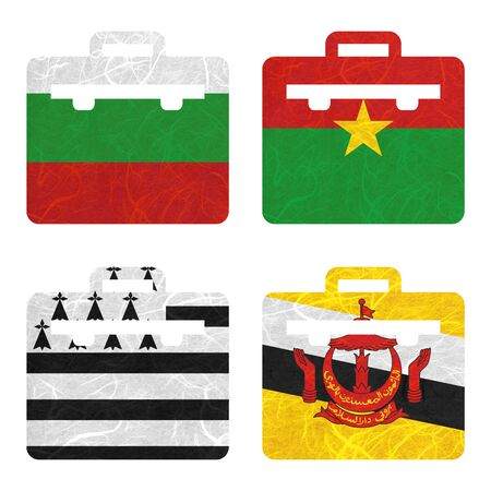 brittany: Nation Flag. Bag recycled paper on white background. ( Brittany , Brunei Darussalam , Bulgaria , Burkina Faso )