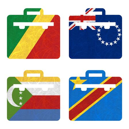 republic of the congo: Nation Flag. Bag recycled paper on white background. ( Comoros , Congo Democratic Republic , Congo Republic , Cook Islands)