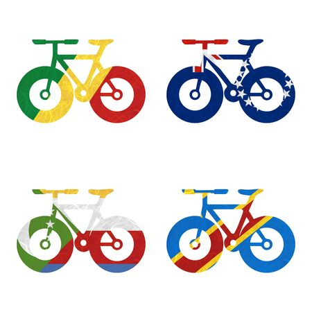 democratic republic of the congo: Nation Flag. Bicycle recycled paper on white background. ( Comoros , Congo Democratic Republic , Congo Republic , Cook Islands) Stock Photo