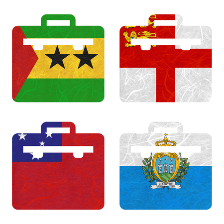 samoa: Nation Flag. Bag recycled paper on white background. ( Samoa , San Marino , Sao Tome and Principe , Sark )