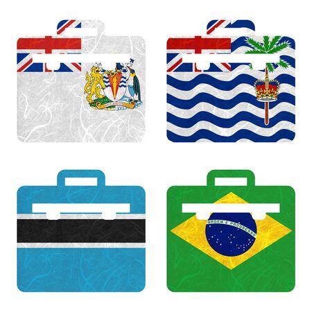 indian ocean: Nation Flag. Bag recycled paper on white background.  ( Botswana , Brazil , British Antarctic Territory , British Indian Ocean Territory )