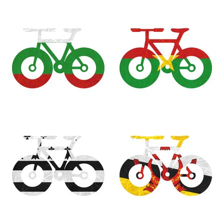 brunei darussalam: Nation Flag. Bicycle recycled paper on white background. ( Brittany , Brunei Darussalam , Bulgaria , Burkina Faso )